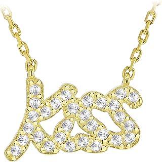 Tuscany Silver 女式纯银镀金吻方晶锆石文字项链