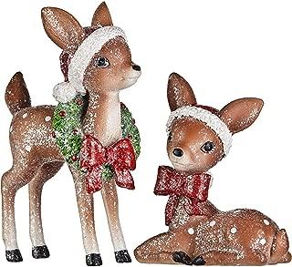 RAZ Imports Set/2 Christmas Glitter Reindeer w/Santa Hats & Wreath Retro VNTG Style Decor