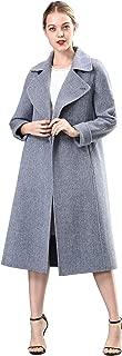 Spring Air Womens Long Double Face 100% Pure Wool Coat, Belt Tartan&Solid Parka Outwear