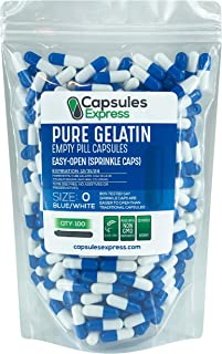 Capsules Express- Size 0 Blue and White Empty Gelatin Capsules - Easy Open Sprinkle Caps - Kosher Certified - Pure Gelatin...