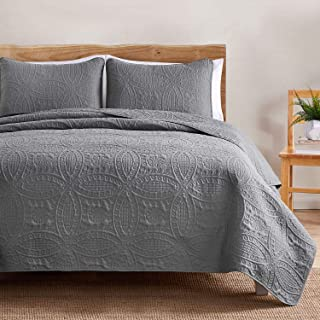 VEEYOO Bedspread Quilt Set Twin Size - Soft Microfiber Lightweight Coverlet Quilt Set for All Season, Quilt Set 2 Piece (1 Quilt, 1 Pillow Sham), Grey