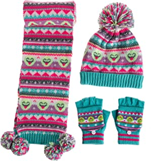 amropi Boy's 3 Pieces Winter Pompom Hat Plaid Scarf and Stripe Glove Sets for Age 1-9 Years