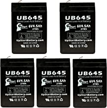 5x Pack - UB645 Universal Sealed Lead Acid Battery Replacement (6V, 4.5Ah, 4500mAh, F1 Terminal, AGM, SLA) - Includes 10 F1 to F2 Terminal Adapters - Compatible with Tripp Lite BC 250 Battery, Sheng Yang SY640, Portalac PA6V4, Powermate PM640F1, Tripp Lite BC 400, CSB/Prism GH640