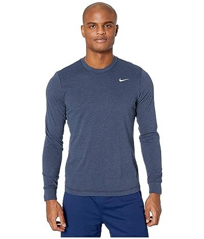 Nike Dry Tee Dri-FIT Cotton Long Sleeve Solid (Obsidian Heather/Matte Silver) Men