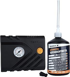 TERRA S T56001 Reparaturkit für Reifenpannen, Standardausrüstung, Notfallausrüstung, mit Dichtmittel und Reifenpumpe, geeignet für Autos und andere Kraftfahrzeuge, Reparatur in 15Minuten
