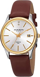 Akribos XXIV Women's AK879BR Diamond Accented Silver & Gold Tone Stainless Steel Brown Leather Two Tone Strap Watch