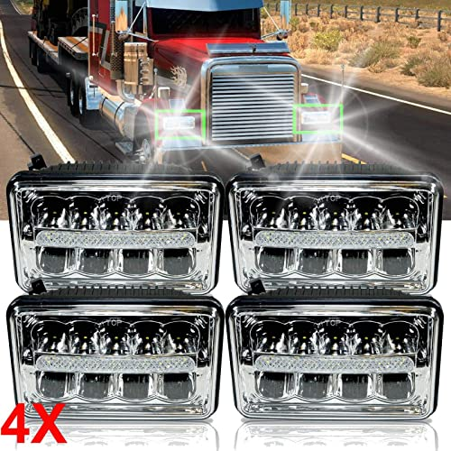 lowest For Freightliner Classic FLD120 FLD112 4x6 Inch LED Headlights DRL High&Low Beam lowest Pack-4 Waterproof Extremely Bright online Upgraded Bulbs, 3 Year Warranty online sale