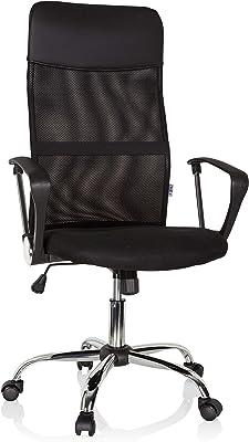 hjh OFFICE 621900 - Sedia girevole da ufficio Pure NET in tessuto nero con schienale alto a rete