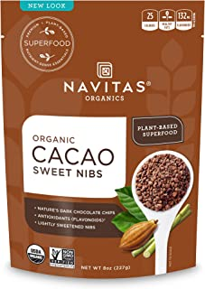 Navitas Organics Sweetened Cacao Nibs, 8oz. Bag - Organic, Non-GMO, Fair Trade, Gluten-Free