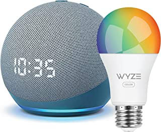 Echo Dot (4th Gen) | Smart speaker with clock and Alexa | Twilight Blue with Wyze Color bulb