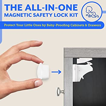 Eco-Baby Cabinet Locks for Babies - 20-Pack Magnetic Baby Proof Safety Latches, 3 Keys - Magnetic Baby Proof Lock fo...