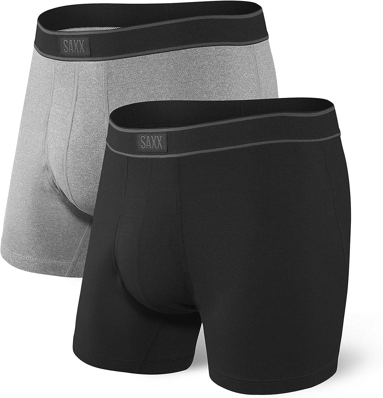 Saxx Underwear Men's Boxer Briefs - Daytripper Boxer Briefs with Built-in Ballpark Pouch Support – Pack of 2, Core