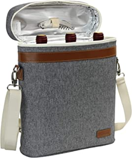 3 bottle insulated Wine Tote, Personalized Wine Carrier Bag, Travel Padded Wine Cooler with Corkscrew Opener and Adjustable Shoulder Strap, Perfect Wine Lover's or Wedding Gift