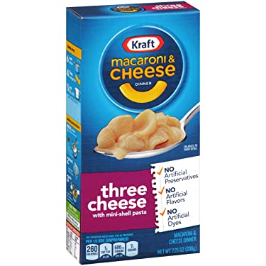 Kraft Three Cheese Macaroni and Cheese Meal (7.25 oz Boxes, Pack of 8)