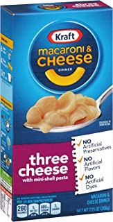 Kraft Three Cheese Macaroni & Cheese Dinner (7.25 oz Boxes, Pack of 8)