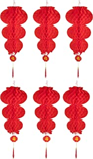 Chinese Red Lantern- 6-Pack Good Luck Lantern, Hanging Chinese Decoration for Lunar Chinese New Year, Wedding, Spring Festival, Restaurant, Celebration, Three Layers Design, 12 x 12 x 31.5 Inches