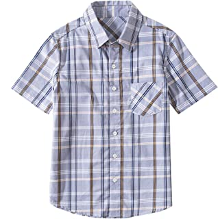 Tronjori Boys' Short Sleeve Button Down Woven Shirt