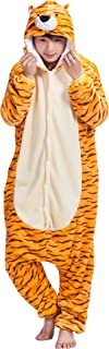 FUNCOS Unisex Adult Tiger Costume Cosplay Warm and Cozy Plush Pajamas