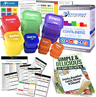 21 Day LABELED Efficient Nutrition Portion Control Containers Kit (14-Piece) + COMPLETE..
