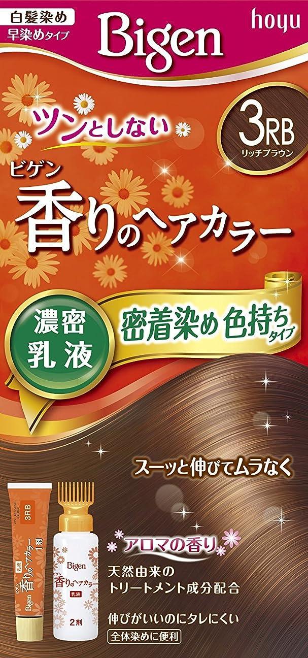 グレーそれによってワイプホーユー ビゲン香りのヘアカラー乳液3RB (リッチブラウン) 40g+60mL ×3個