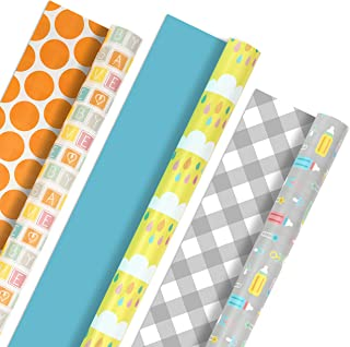 Hallmark Reversible Wrapping Paper, Baby Love (Pack of 3, 120 sq. ft. ttl.) for Baby Showers, First Birthdays and More