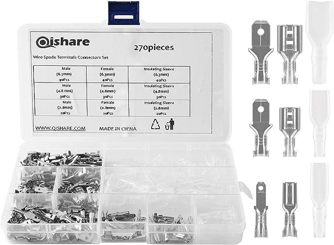84 opinioni per Qishare 270Pcs Quick Splice 2.8mm4.8mm6.3mm Maschio Femmina Connettore Vanga