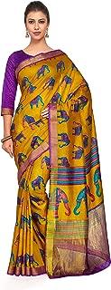 Kupinda Art Kalamkari Prints Saree with ikkat, pochampally and Kanjivaram Print Pattren ith Contrast Blouse Color: Gold (4258-RP2-SALN-20-GLD)