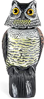 Ohuhu Scarecrow Owl Decoy Statue to Scare Birds Away, Realistic Eyes Rotating Head & Scary Sounds Hand-Painted Garden Protector, Scares Away Squirrels, Pigeons, Rabbits from You Yard Garden