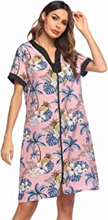Ekouaer Robes for Women Zipper Front V-Neck Short Sleeve Floral Sleepwear with Pockets S-XXL