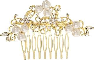 Unik Occasions 复古珍珠和水钻金新娘梳子