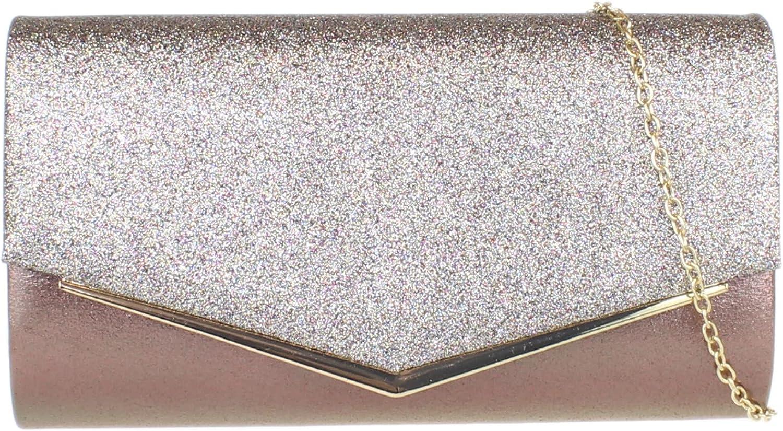 Girly Handbags Glitter Flap Clutch Bag