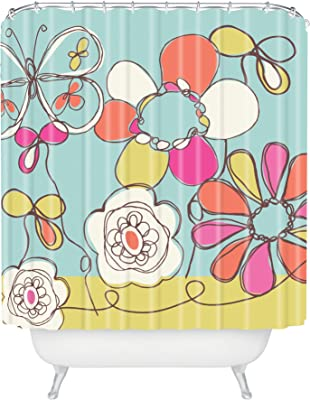 Standard Deny Designs 71 by 74-Inch Joy Laforme Floral Sophistication in Navy Shower Curtain