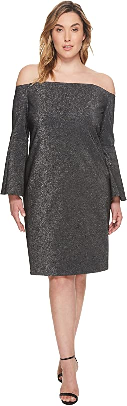 Plus Size Off Shoulder Bell Sleeve Metallic Ponte Dress
