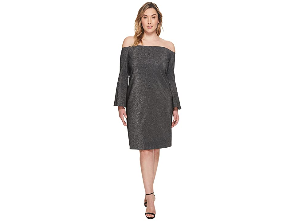 Vince Camuto Specialty Size Plus Size Off Shoulder Bell Sleeve Metallic Ponte Dress (Rich Black) Women