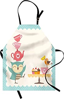 Lunarable Owl Apron, Owl at a Tea Party Bird Lemon Cupcakes Teacups Vintage Design Border Art Print, Unisex Kitchen Bib with Adjustable Neck for Cooking Gardening, Adult Size, White Pink