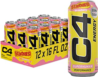 C4 Energy Drink by Cellucor | STARBURST Strawberry | Carbonated Sugar Free Pre Workout Performance Drink with no Artificia...