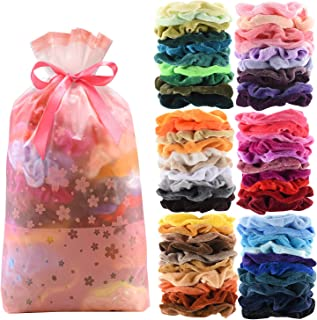 60 Pcs Premium Velvet Hair Scrunchies Hair Bands Scrunchy Hair Ties Ropes Scrunchie for Women or Girls Hair Accessories with Gift bag