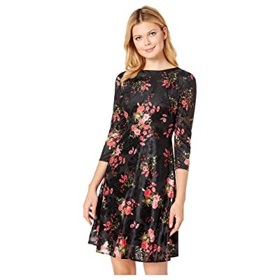 eci Floral Burnout Fit Flare Dress with 3/4 Sleeves (Black/Red) Women