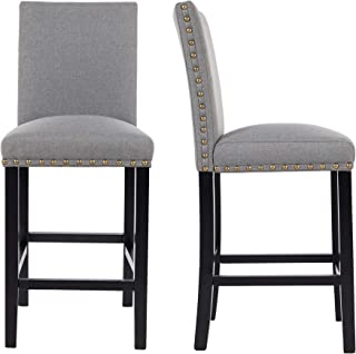 GOTMINSI Bar Stools with Nailheads, 24 Inches Upholstered Bar Stools,Counter Height Bar Chairs with Solid Wood Legs, Set of 2 (Grey)