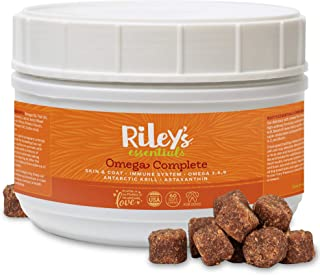 Riley's Omega 3 for Dogs Itching Skin Relief Without Dog Allergy Medicine, Krill Fish Oil Supplement for Dogs with Omega 3 6 9, Astaxanthin for a Healthy Skin and Coat & Immune System - Soft Chews