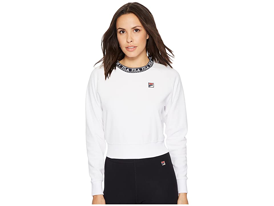Fila Dina Velour Crew (White/Navy/Metallic Gold) Women