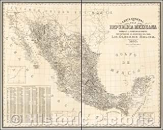 Historic Map - Carta General de la Republica Mexicana formada en la Secretaria / 1913 US War Department Reproduction of Map of Mexico, 1910, Olegario Molina - Vintage Wall Art 56in x 44in