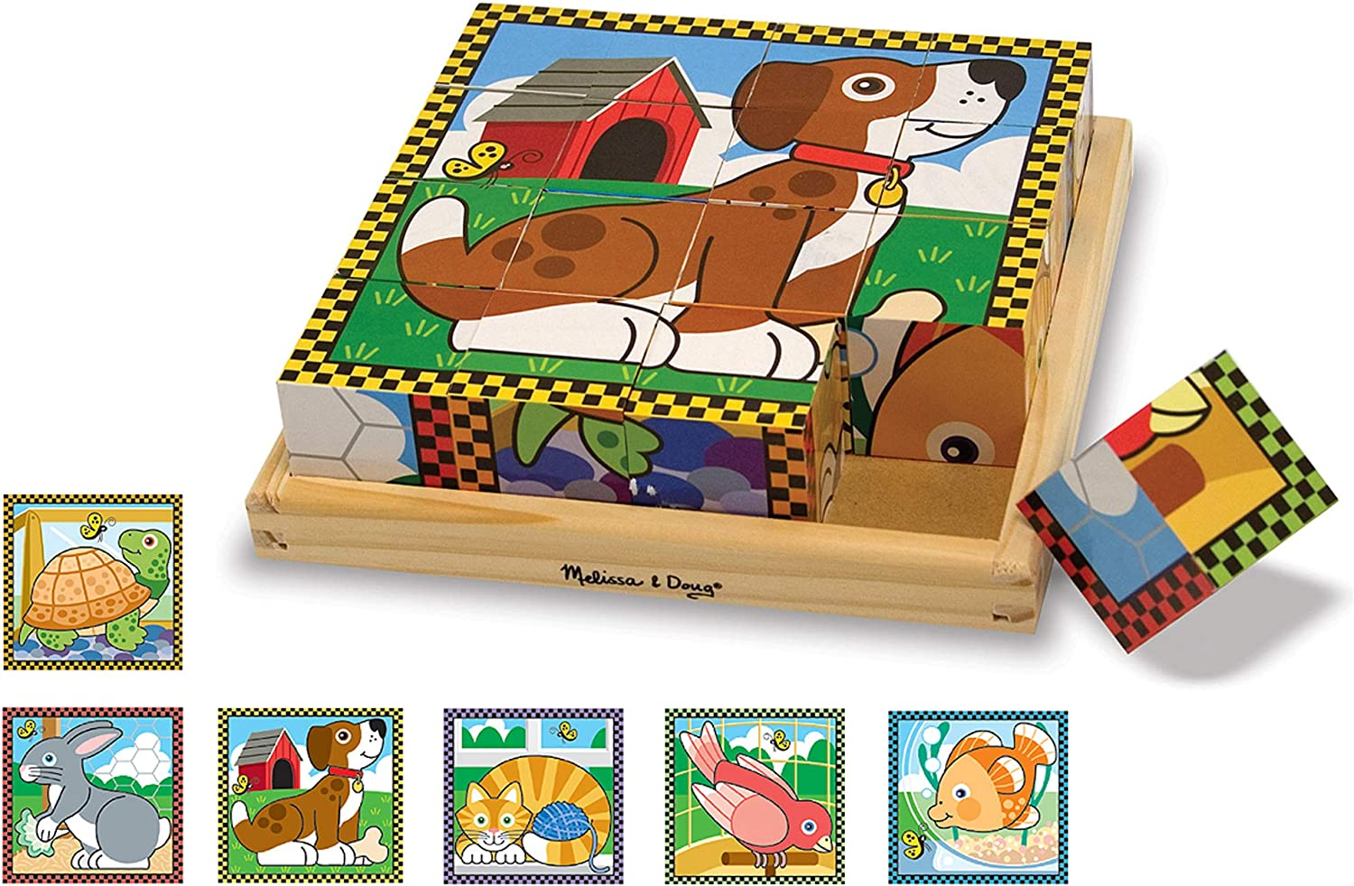 Melissa Doug Pets Cheap sale Wooden Direct store Cube Puzzle Tray pcs With Storage 16