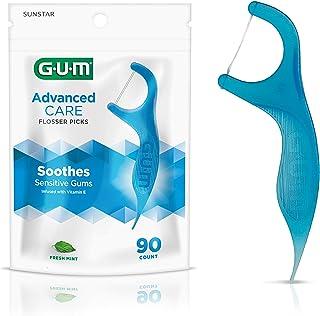 Best GUM Advanced Care Flossers, Fresh Mint Dental String Floss Picks, Vitamin E & Fluoride, 90 Count, (Pack of 6) Review