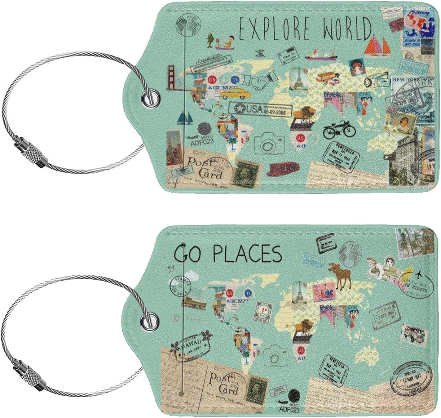 2 Max 86% OFF Pack Explore The Credence World Stamps Leather Tag PU Name Luggage ID