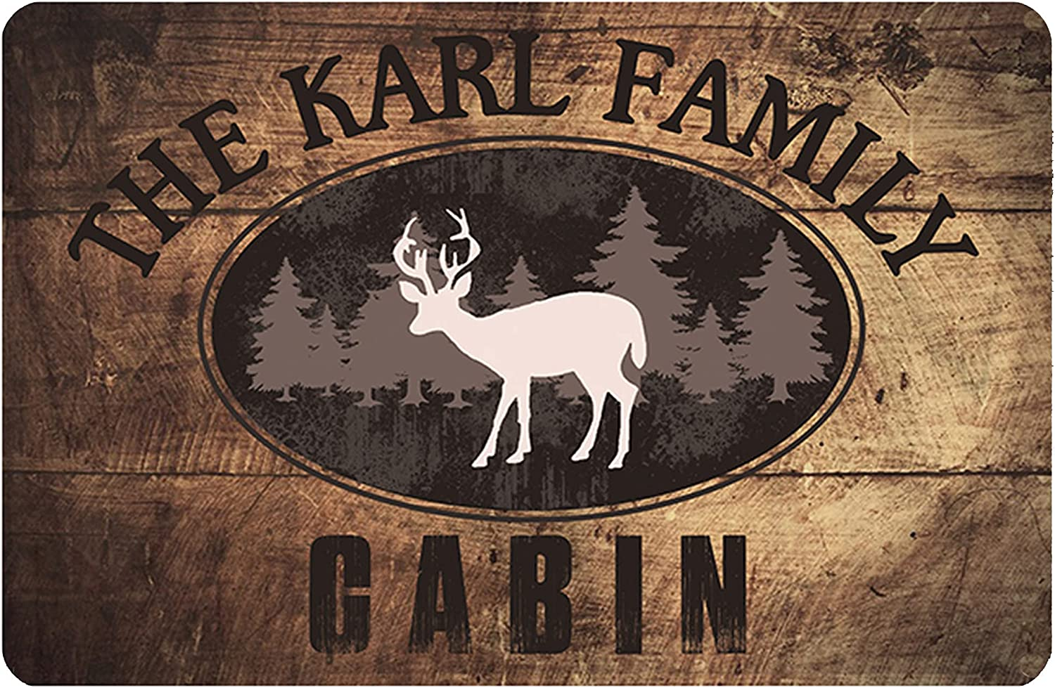 Auwozc Personalized Cabin Sign,Rustic Wood Plank Look Cabin Metal Room Sign Man Cave Sign Lake House Sign Cottage Plaque Metal Wall DéCor,8