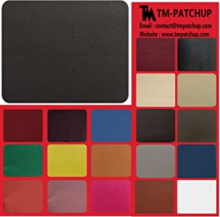 TMpatchup Genuine Leather and Vinyl Repair Patches Kit - Grain Self Adhesive Leather to Repair Furniture, Couch, Sofa, Jacket - Multiple Colors and Sizes Available (Black, 8'' x 11'')
