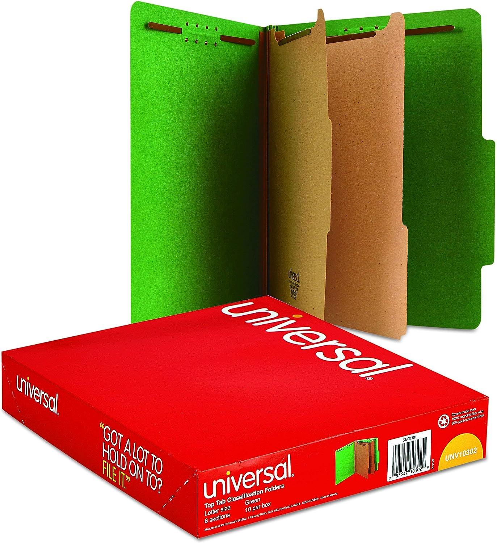 Six-Section Emerald Green Box of 10 Pressboard Classification Folders - New Letter
