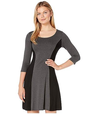 Karen Kane 3/4 Sleeve Color Block Dress (Dark Heather Grey/Black) Women