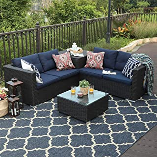 PHI VILLA 4 Piece Patio Sectional Furniture Outdoor Sofa Set with Cushion Box Storage - Navy Blue